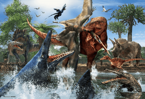 Beverly Jigsaw Puzzle 40-006 Tyrannosaurus Rex VS Mosasaurus (40 L-Pieces)