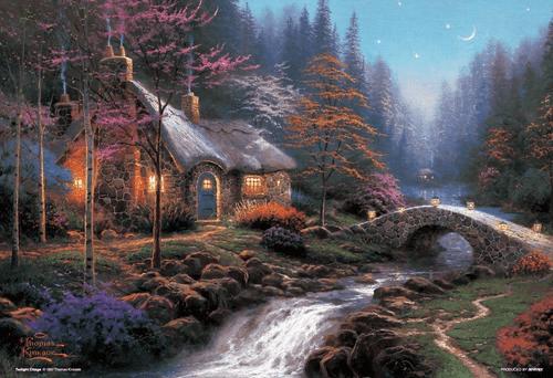 Beverly Jigsaw Puzzle M81-846 Thomas Kinkade Twilight Cottage (1000 S-Pieces)