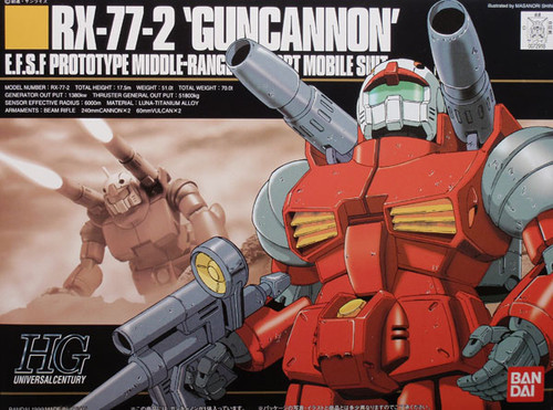 Bandai HGUC 001 Gundam RX-77-2 GUNCANNON 1/144 Scale Kit