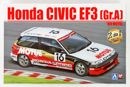 Aoshima 98301 Honda Civic EF3 Gr.A '88 Motul 1/24 Scale Kit