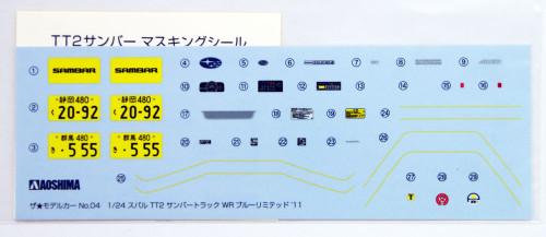 Aoshima 51559 The Model Car 04 Subaru TT2 Sambar Truck WR Blue Limited 11' 1/24 Scale kit