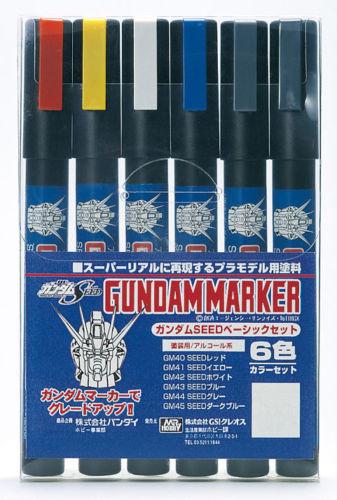GSI Creos Mr.Hobby GMS109 Gundam Marker Seed Basic Set (6 Colors Pen)