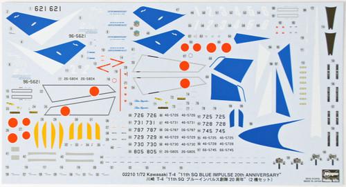 Hasegawa 02210 Kawasaki T-4 11th SQ Blue Impluse 20th Anniversary 1/72 Scale Kit
