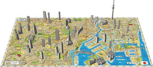 Ensky 4D Jigsaw Puzzle 4Dm-01 Cityscape Time Puzzle Mini City TOKYO (130 Pieces)