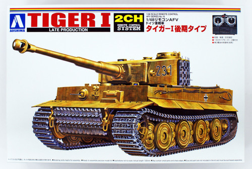 Aoshima 12499 RC AFV Series No. 16 Tiger I Late Productions 1/48 Scale Kit