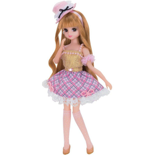 Takara Tomy Licca Doll Dress Set Girls Check Gold  doll not included  (806806)