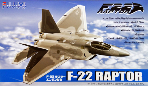 Fujimi BSK-1 722221 F22 Raptor with Engine 1/72 Scale Kit