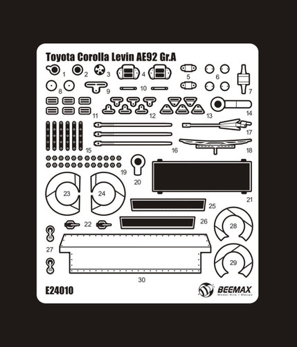 Aoshima 98271 Toyota Corolla Levin AE92 '88 Gr.A Detail Up Parts 1/24