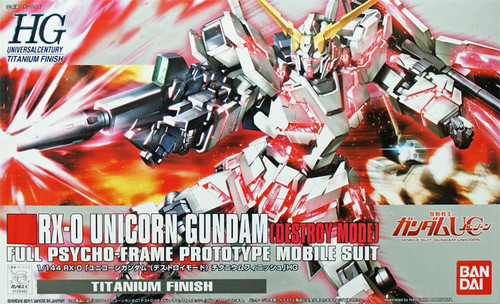 Bandai 694829 Gundam RX-0 UNICORN Gundam (Destroy Mode) Titanium Finish 1/144  Scale Kit