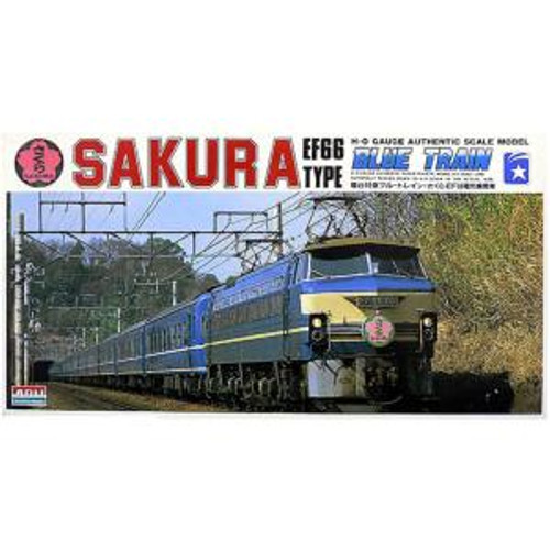 Arii 4968279151839 Blue Train Sleeping Car Sakura EF66 Locomotive 1/80 Scale Kit (HO Scale Size)