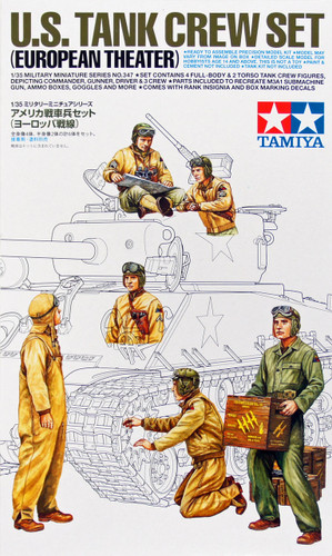 Tamiya 35347 US Tank Crew Set (European Theater) 1/35 Scale Kit