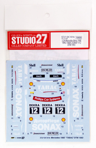 Studio27 ST27-DC1016 Mercedes-Benz 190E AMG-TABAC/SONAX #12 DTM 1993 Decal 1/24