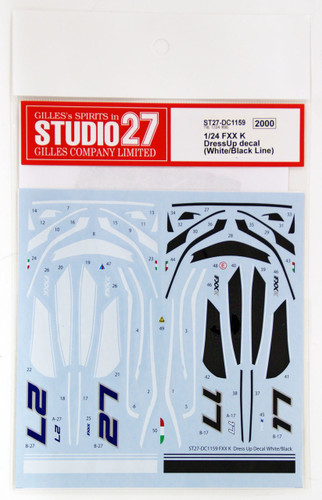 Studio27 ST27-DC1159 FXX K Dress UP (White/Black Line) Decal for Tamiya 1/24