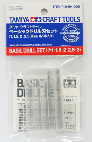Tamiya 74049 Craft Tools - Basic Drill Set - 1mm, 1.5mm, 2mm, 2.5mm, 3mm