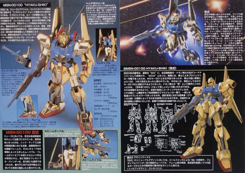 Bandai HGUC 005 Gundam MSN-00100 HYAKU-SHIKI GOLD 1/144 Scale Kit