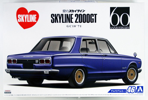 Aoshima 53478 The Model Car 46 NISSAN GC10 SKYLINE 2000GT '71 1/24 scale kit