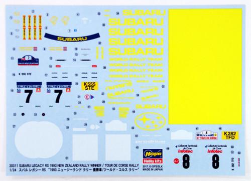 "Hasegawa 20311 Subaru Legacy RS ""1993 New Zealand Rally Winner/ Le Tour de Corse-Rally"" 1/24 Scale Kit"