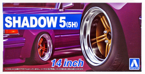 Aoshima 54376 Tuned Parts 66 1/24 SHADOW5(5H) 14inch Tire & Wheel Set