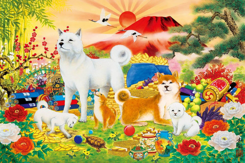 Epoch Jigsaw Puzzle 15-082 Japanese Zodiac Good Fortune Dogs (1500 S-Pieces)