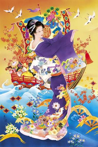 Epoch Jigsaw Puzzle 11-572 Japanese Illustration Kimono (1000 Pieces)