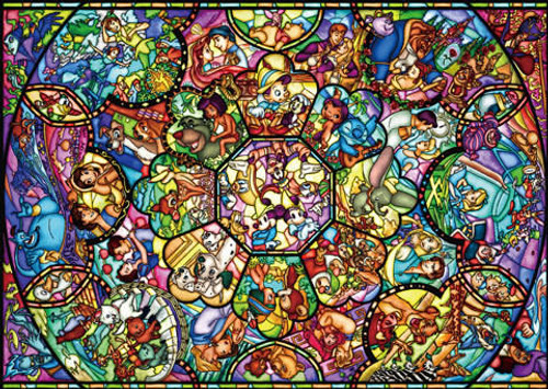 Tenyo Japan Jigsaw Puzzle D-2000-603 Disney All Star Stained Glass (2000 Pieces)