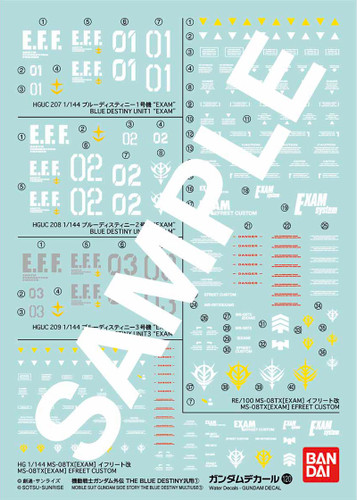 Bandai Gundam Decal No.120 for 1/100 & 1/144 Gundam Gaiden The Blue Destiny Series 1 (249191)