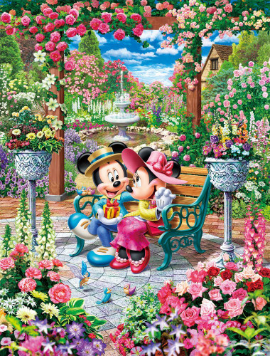 Tenyo Japan Jigsaw Puzzle D-1000-493 Disney Mickey & Minnie Garden (1000 Pieces)