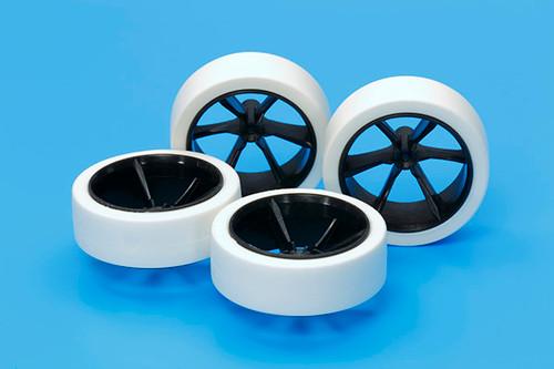 Tamiya 95371 Mini 4WD Hard Large Diameter LP Tire/Wheels & LP Tire/Carbon Wheel 6-Spoke
