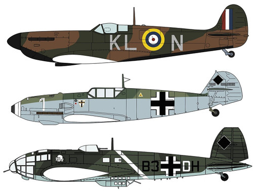 Hasegawa 02270 Royal Air Force Spitfire Mk.1 & Luftwaffe Bf109E & He111P/H Battle of Dunkirk 1/72 scale kit