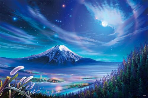 Yanoman Jigsaw Puzzle 10-1301 KAGAYA Moon Light Mt.Fuji (1000 Pieces)