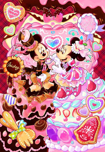 Tenyo Japan Jigsaw Puzzle DPG-500-599 Mickey Minnie Sweets Time (500 S-Pieces)