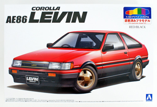 Aoshima 54963 Toyota AE86 Levin 1983 Red/Black 1/24 Pre-painted model kit