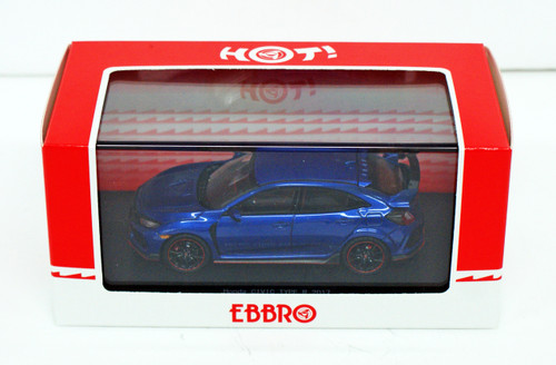 Ebbro 45575 Honda CIVIC Type R 2017 Brilliant Sporty Blue Metallic 1/43 Scale
