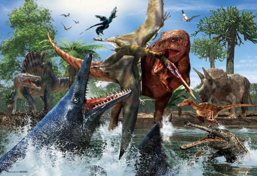 Beverly Jigsaw Puzzle L74-168 Dinosaur Tyrannosaurus Mosasaurus (150 L-Pieces)