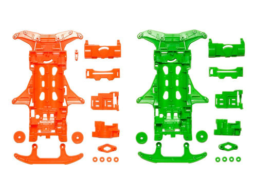 Tamiya 95355 Mini 4WD Fluorescent Chassis Set VS Chassis (Orange/Green)