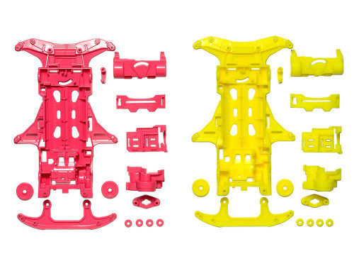 Tamiya 95356 Mini 4WD Fluorescent Chassis Set VS Chassis (Pink/Yellow)