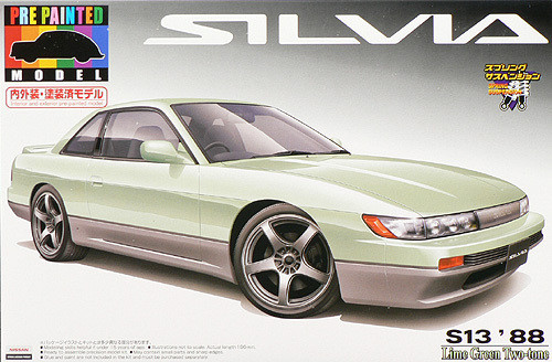 Aoshima 43752 Nissan Silvia S13 Lime Green 1/24 Scale Kit (Pre-painted Model)