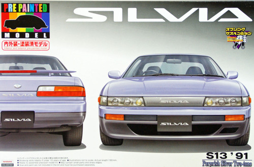 Aoshima 43769 Nissan Silvia S13 Parpish Silver 1/24 Scale Kit (Pre-painted Model)