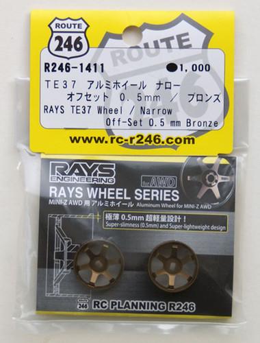 Kyosho Mini Z AWD R246-1411 RAYS TE37 Wheel Narrow Off-Set 0.5 mm Bronze