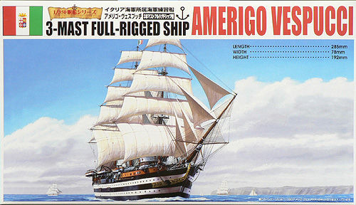 Aoshima 44278 3-MAST FULL-RIGGED AMERIGO VESPUCCI 1/350 Scale Kit