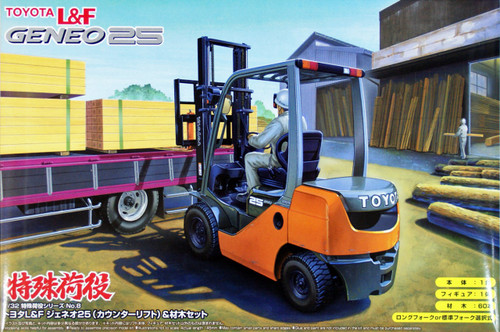 Aoshima 48269 Toyota L&F Geneo 25 Forklift with wood 1/32 Scale Kit