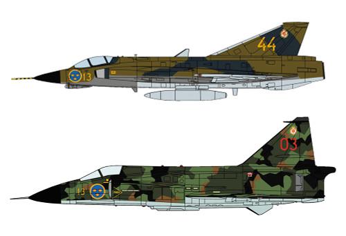Hasegawa 02281 Swedish Air Force J35F Draken & Viggen F13 Flying Group 1/72 scale kit