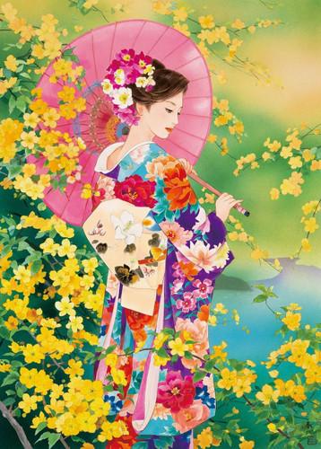 Epoch Jigsaw Puzzle 06-089 Japanese Art Haruyo Kimono (500 Pieces)