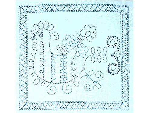 Tulip KSW-013 SASHIKO WORLD Embroidery Kit Russia Rooster with Blue Flower