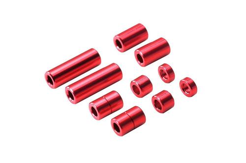 Tamiya 95388 Mini 4WD Aluminum Spacer Set (Red) - 12/6.7/6/3/1.5mm (2pcs each)