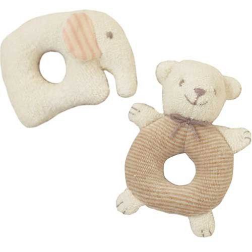 Hamanaka H434-514 Organic Cotton Handicraft Kit Baby Rattle Bear & Elephant