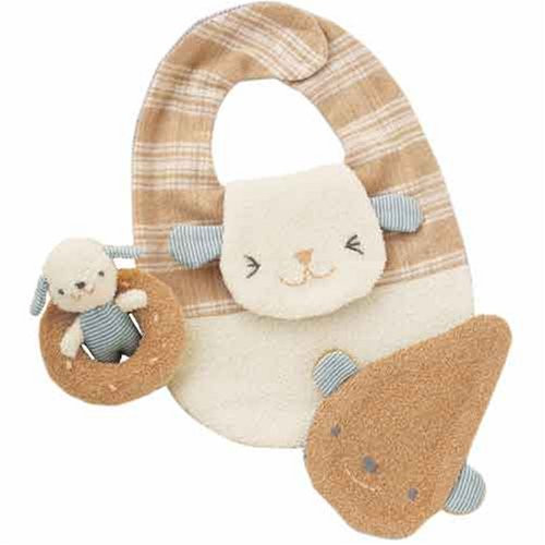 Hamanaka H434-515 Organic Cotton Handicraft Kit Baby Bib & Rattle Dog