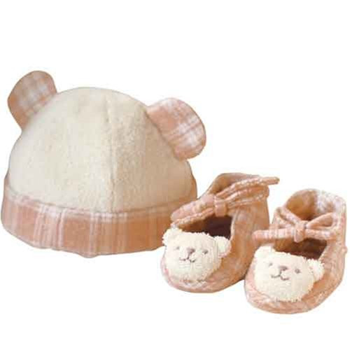 Hamanaka H434-509 Organic Cotton Handicraft Kit Baby Bear Hat & Shoes