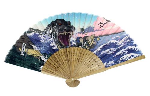 Folcart 630426 Japanese Folding Fan Godzilla & Sakura