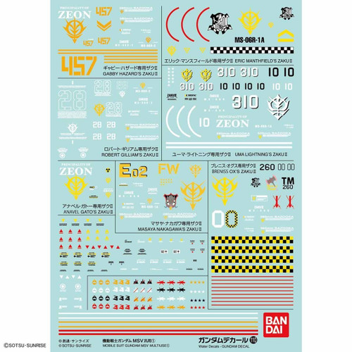 Bandai Gundam Decal No.110 for 1/144 Gundam MSV General Purpose 1